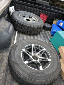 Our truck bed now carried two tires!